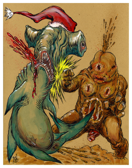 Holiday-Gift-Guide - Nick-Gucker-Christmas-Shark-vs.-Butthole-Monster